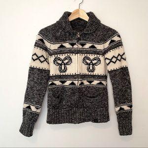 TNA Lambswool Printed Zip Sweater Cardigan